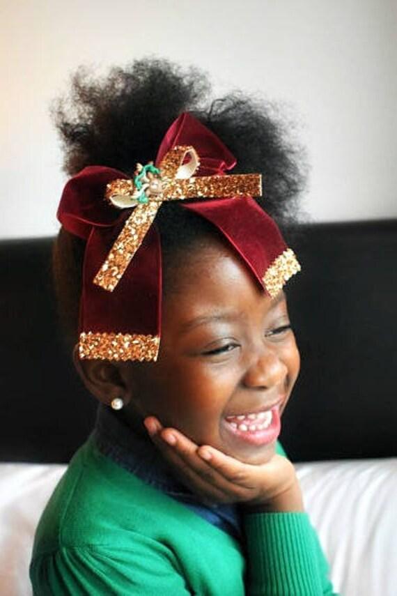 Oversized Burgundy and Bronze Reindeer Velvet Bow - Baby / Toddler / Girls / Kids Headband / Hairband / Barrette / Hairclip / Christmas