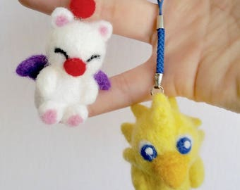 Needle Felted Chocobo or Moogle Cellphone Strap Dust Plug