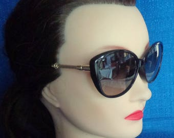 Vintage Black Cat Eye Sunglasses With Gold Metal Temples,Black Retro Sunglasses