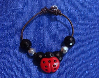 Ladybug Bracelet,Kids Bracelet,Little Girls Bracelet,Childs Bracelet,Brown Leather Bracelet