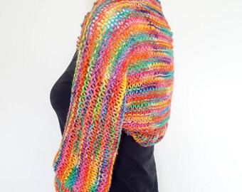 Ladies shrug, rainbow shrug, ladies bolero, 3/4 sleeve shrug, rainbow bolero, Boho shrug, ladies cardigan IN STOCK