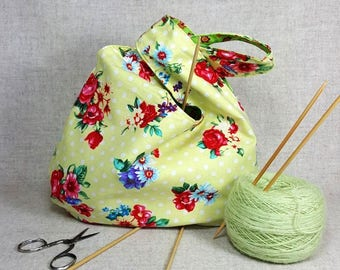 Knitting Project Bag with flowers, yellow white green, reversible japanese knot bag, cotton bag