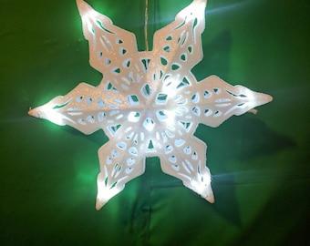 led sparkle snowflake lighted christmas tree topper battery powered - Lighted Christmas Tree Topper