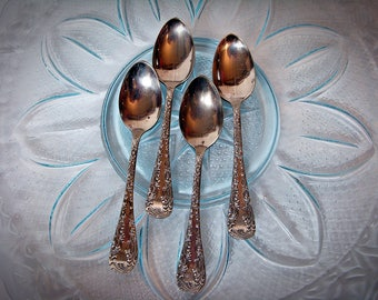 Crown Silver Co. FLORENCE DEMITASSE SPOONS Set of Four