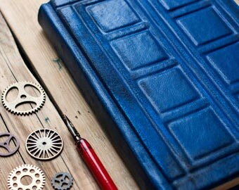 Tardis leather journal Doctor Who  journal  Tardis book Doctor Who notebook  River Song's Journal  Diary Travel journal  Blank book