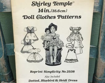 Shirley Temple doll clothes pattern book,Shirley Temple doll clothes,Shirley Temple Bluebird dress,Shirley Temple collectible,doll coat