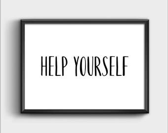 Help Yourself Sign, Help Yourself Printable, Bed and Breakfast Sign, Wedding Sign, Help Yourself Coffee Bar, Kitchen Wall Decor