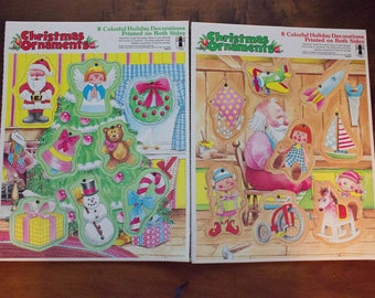 Set of 2 1980 Rainbow Works Cardboard Christmas Ornaments/Tray Puzzles