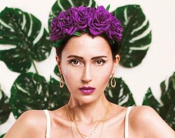 Flowercrown roses purple