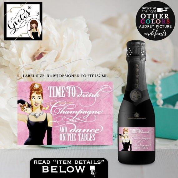 "Custom Breakfast at Tiffany's MINI CHAMPAGNE labels, stickers, bottle label, favors gifts, dance on tables, PERSONALIZED 3x2""/9 Per Sheet"