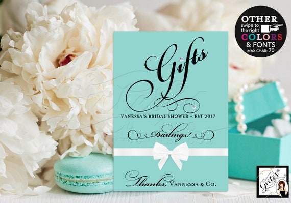 Gifts signs, breakfast at Tiffany's bridal shower, bride and co blue themed table signs white bow, and co darlings 5x7. CUSTOMIZABLE