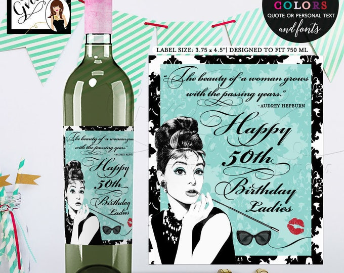 "Wine labels 50th birthday, Breakfast at Tiffany's PERSONALIZED wine labels. Digital File Only! {3.75x4.5""/4 Per Sheet} PRINTABLE"