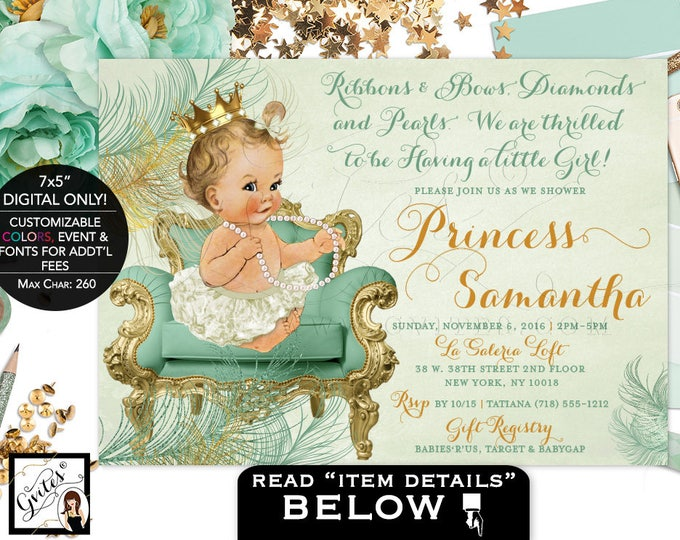 Mint green and gold baby shower, princess is on her way, mint gold invitations, vintage, baby girl diamond pearls, DIGITAL FILE ONLY! 7x5""