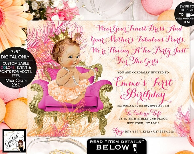 Pink and Orange First Birthday Invitation, 1st Birthday Princess Invites, Printable Vintage, Orange Gold and Pink, Gold Crown Baby Girl, DIY