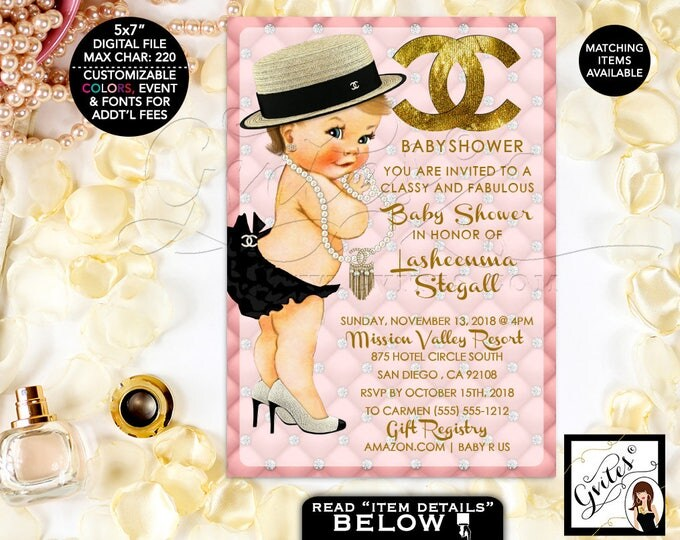 Designer Baby Shower Invitation, Coco Chanel Pink and Gold Baby Invites, Classy Fabulous Shower, Printable, DIGITAL File Only! 5x7""
