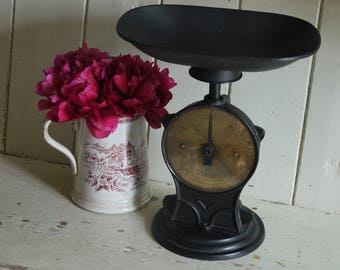 RESERVED FOR BOB Rustic Antique Weighing Scales - Salter Brass Face
