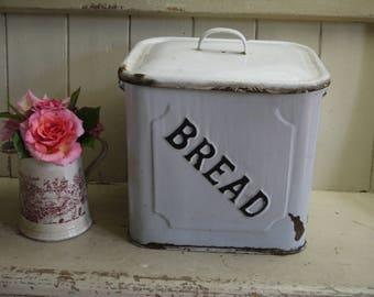 Rare Antique Victorian Enamel Bread Box