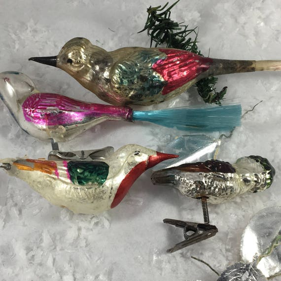 4 Vintage glass Christmas ornaments~ hand blown mercury glass birds~1940s-60s