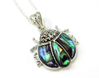 Beetle Necklace, Silver Abalone Necklace, Ladybug Pendant, Bug Jewelry, Scarab Beetle Ladybird Necklace, Insect Jewellery, Nature Gifts
