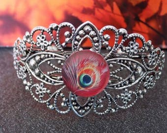 Lace and Peacock cabochon Cuff Bracelet