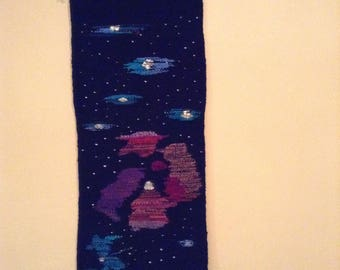 Nebula and Stars Mid-Century Modern Textile Tapestry Wall Hanging by Anna-Lisa Ostlund