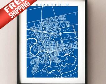 Brantford, Ontario Map Print