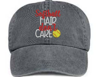 Softball Hair Don't Care Hat/ Embroidered Softball Hat/ Messy Hair Hat/ Softball Hat/ Pigment Dyed Softball Hat/ Softball Mom Hat/Distressed