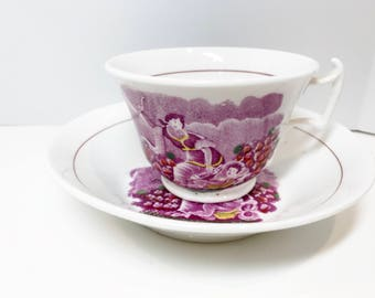 Antique Tea Cup and Saucer, Export China, Wishbone Handle Tea Cup, Antique Tea Cups, Hand Made Tea Cup, Lilac Tea Cup, Antique Teacups