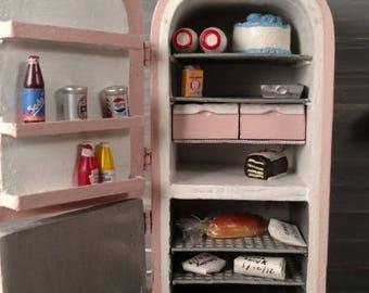 Pink Custom Made Dollhouse Retro Refrigerator 1:12 Scale