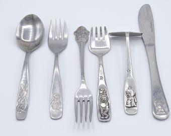 Vintage Children's Cutlery, Vintage Cutlery, Children's Flatware, WMF, Astronauts, Rabbit, Monkey, Dog, Tom Poes
