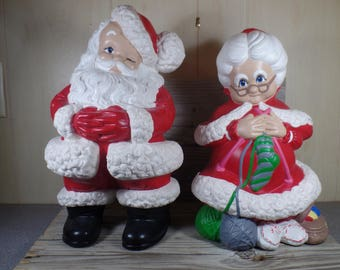 RESERVED for Kelliroddy1 1970s Atlantic Mold Ceramic Santa And Mrs Claus Atlantic Mold Holiday Decor Christmas Decor Fireplace Decor