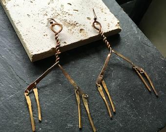 Copper and brass windchime earrings