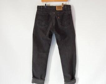 Levi's Black jeans Orange tab Men's 36/34 Levi's 505 Regular Fit Straight Leg Vintage 90's Era Faded to Dark Gray Perfect vintage Levi's