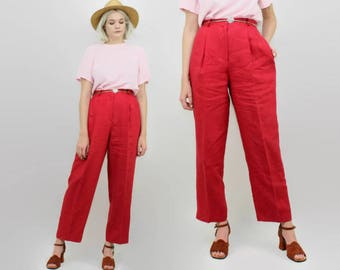 90s Red Linen Pants, Size Medium, 29 Waist, Pleated, Tapered Leg, Minimalist, Summer Slacks, Talbots, Vintage High Waisted Trousers, 80s
