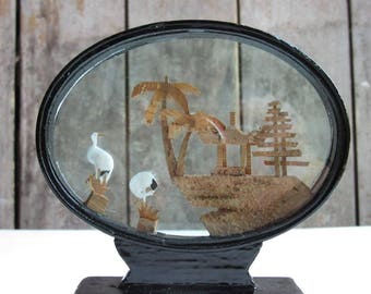 VGC Kitschy Asian Cork Diorama, Vintage Asian Decor, Black Lacquer Oval Frame, Cork Carving, Carved Pagoda, Herons/Storks, Asian Art Kitsch