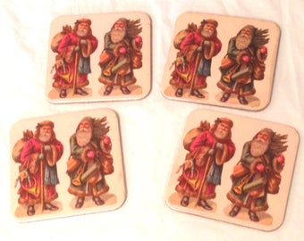 "4 Holiday Vintage Santa Clause- 4"" Square Cork Back"