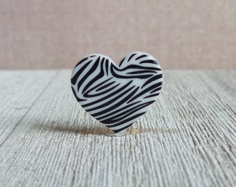 Wild Heart - Zebra - White and Black - Animal - Zoo - Lapel Pin