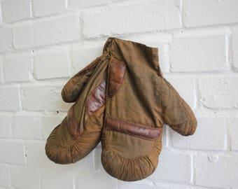 Canvas Boxing Sparring Gloves Circa 1920s