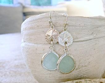 Silver Sand dollar Earrings Alice blue earrings Pastel Blue Earrings beach jewelry 925 sterling silver sand dollar jewelry pair of earrings