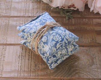 Blue and Green Batik Print Lavender or Balsam Sachets Set of 3, Organic Lavender, Lavender Pillows, Natural Aroma Therapy