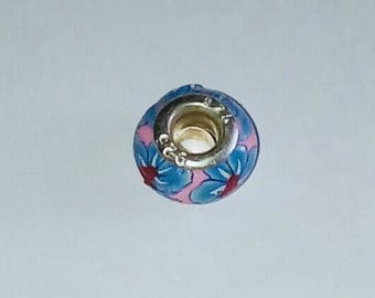 X 1 bead pandora fimo flowers and set 925 sterling silver