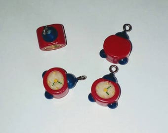 X 1 small red and blue kawaii alarm 20mm