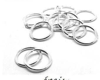 X 10 silver rings 10mm thickness 1.5 mm