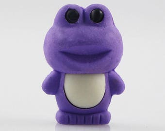 X 1 rubber frog kawaii purple/white