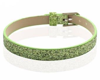 Bracelet faux leather sequin green 22 cm