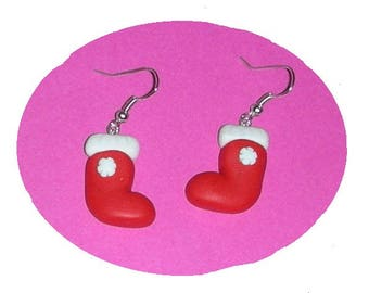 Christmas boots polymer clay earrings