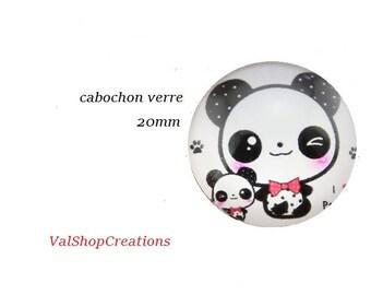 X 1 glass Panda 20 mm Cabochon