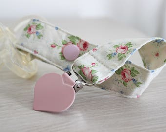 Girl Pacifier clip, Pacifier holder, Flowers fabric, Dummy clip, Baby pacifier clip, Binky Clips, Baby Girl pacifier, Paci Clip