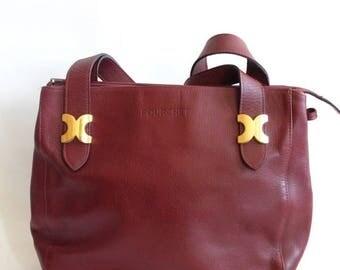 on sale Burgundy shoulder bag, vintage, Pourchet, made in France