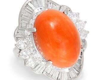 Salmon Coral Ballerina Ring with Diamonds in Platinum 15.84ctw